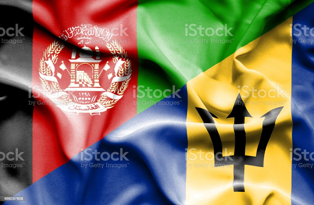 Waving flag of Barbados and Afghanistan stock photo