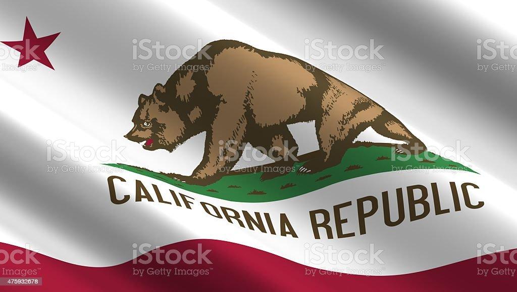 Waving flag of California state. stock photo