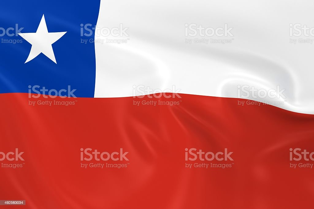 Waving Flag of Chile stock photo