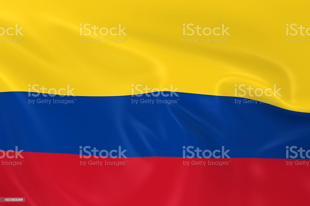 Waving Flag of Colombia stock photo