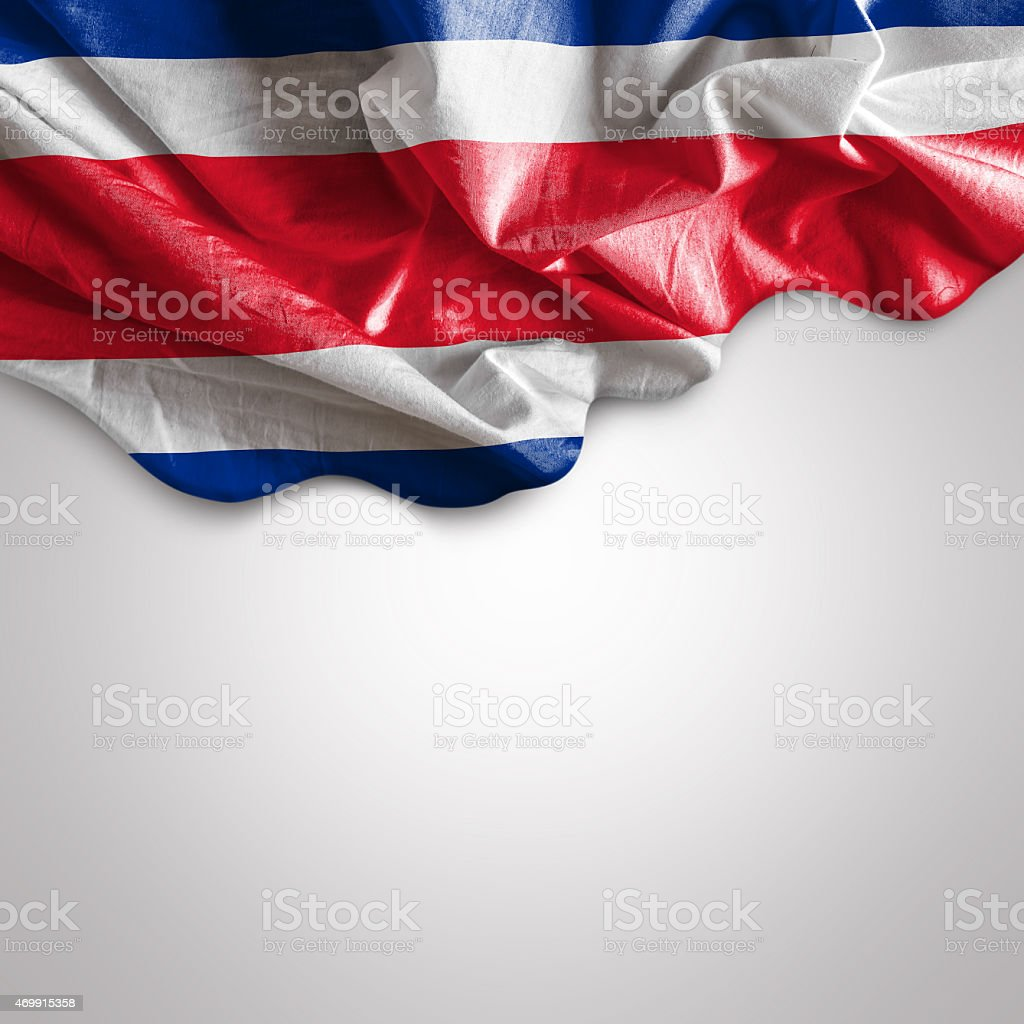 Waving flag of Costa Rica stock photo