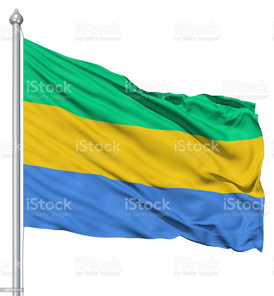 Waving flag of Gabon royalty-free stock photo
