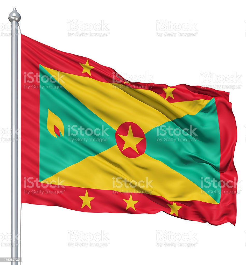Waving flag of Grenada stock photo