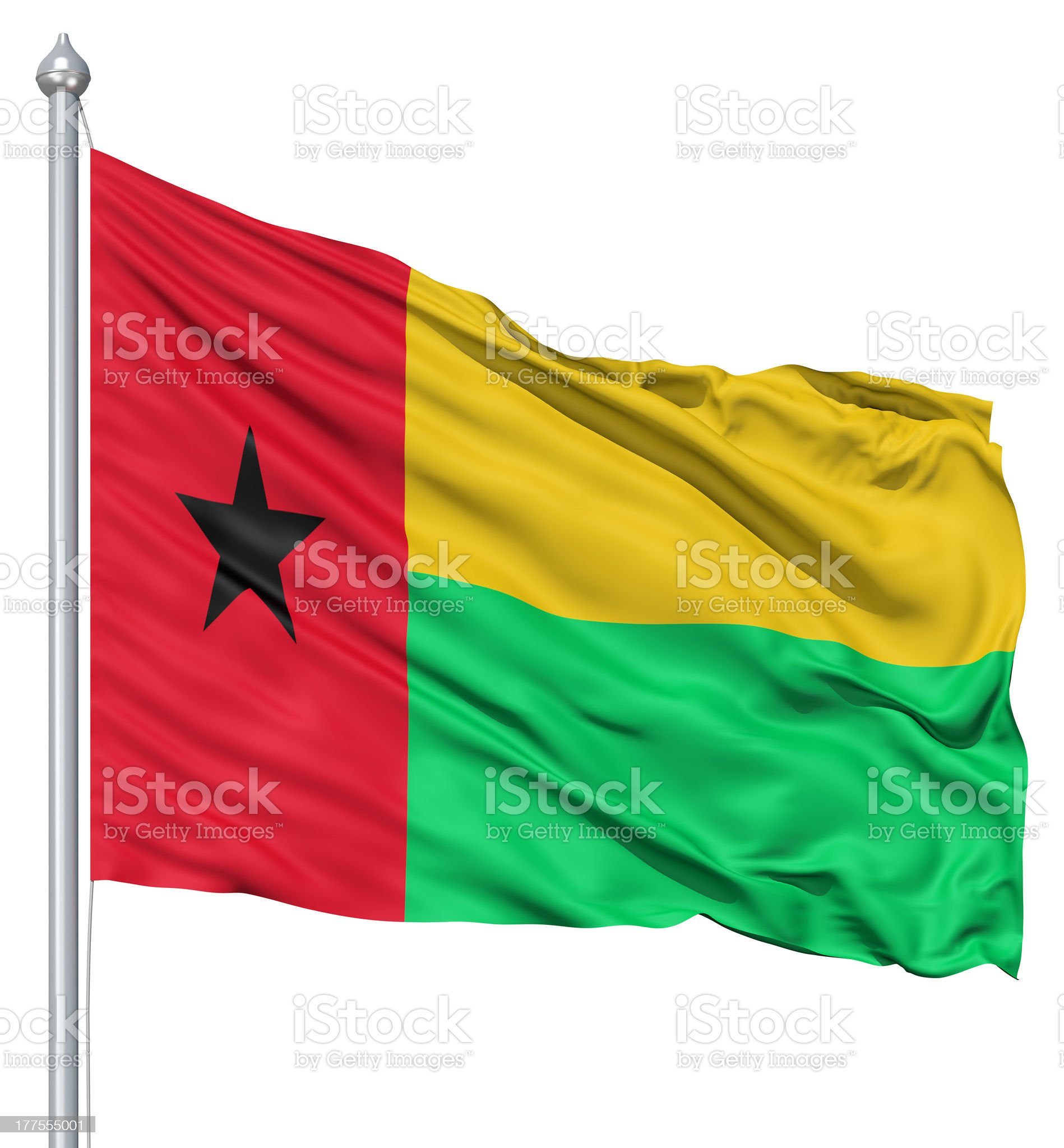 Waving flag of Guinea-Bissau royalty-free stock photo
