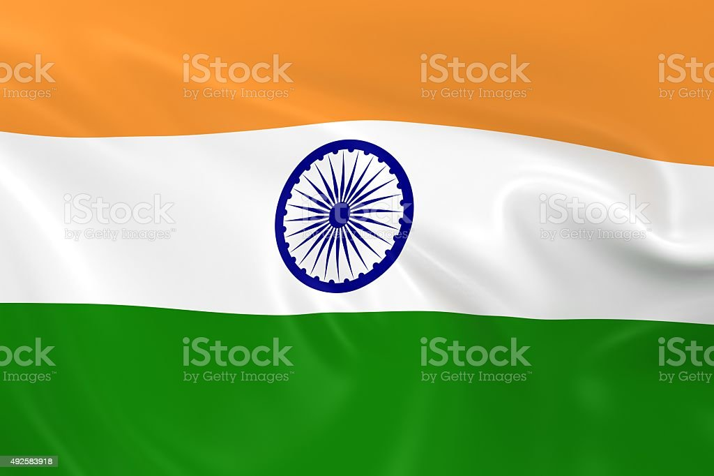 Waving Flag of India stock photo