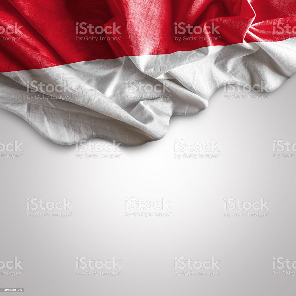 Waving flag of Indonesia at the top stock photo