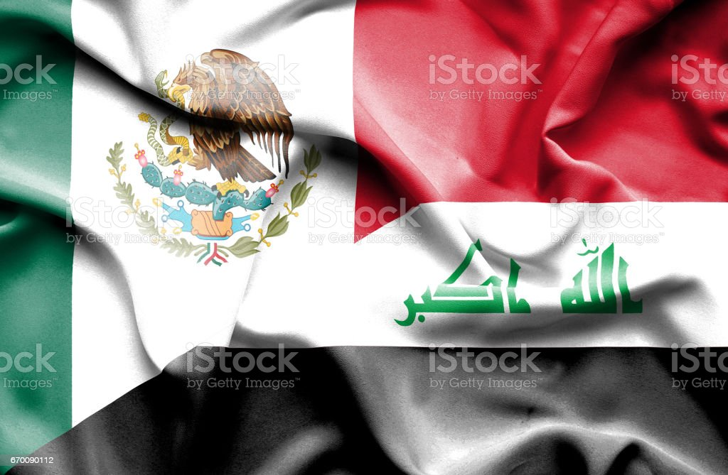 Waving flag of Iraq and Mexico stock photo