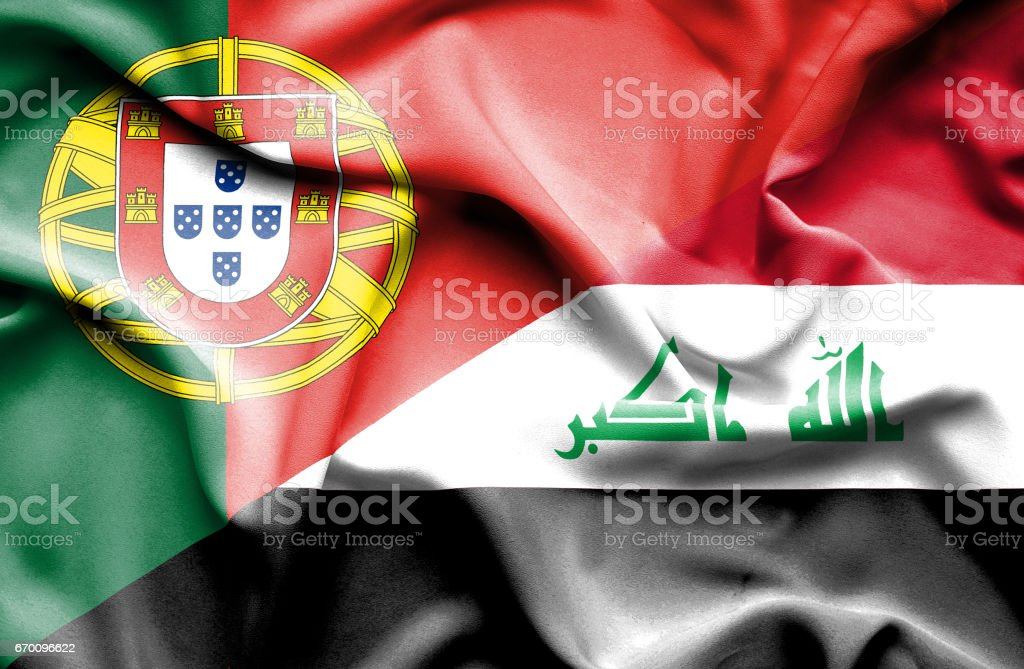 Waving flag of Iraq and Portugal stock photo