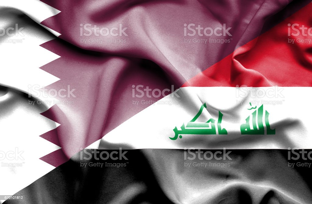 Waving flag of Iraq and Qatar stock photo