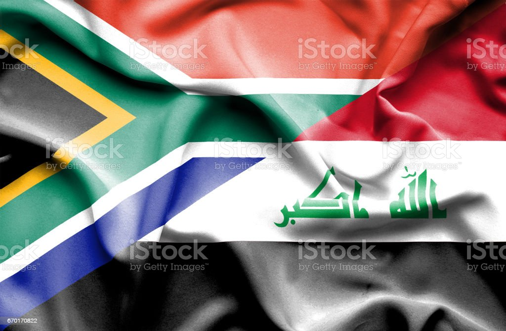 Waving flag of Iraq and South Africa stock photo