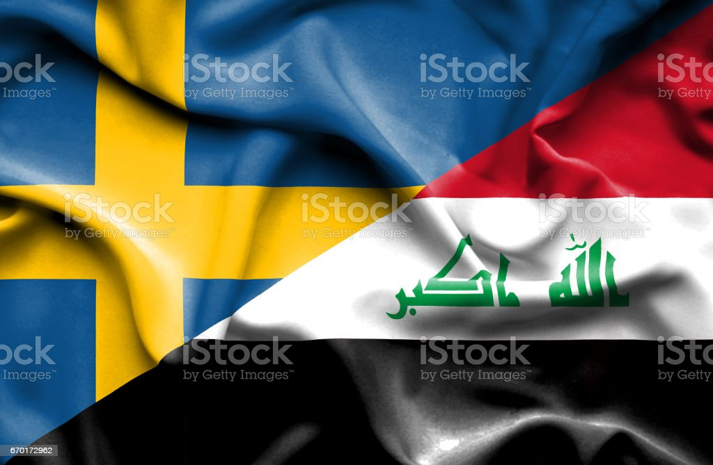 Waving flag of Iraq and Sweden stock photo