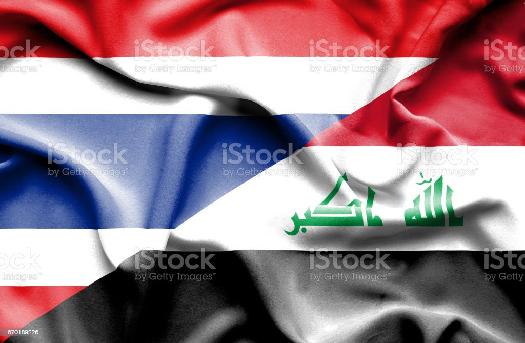 Waving flag of Iraq and Thailand stock photo