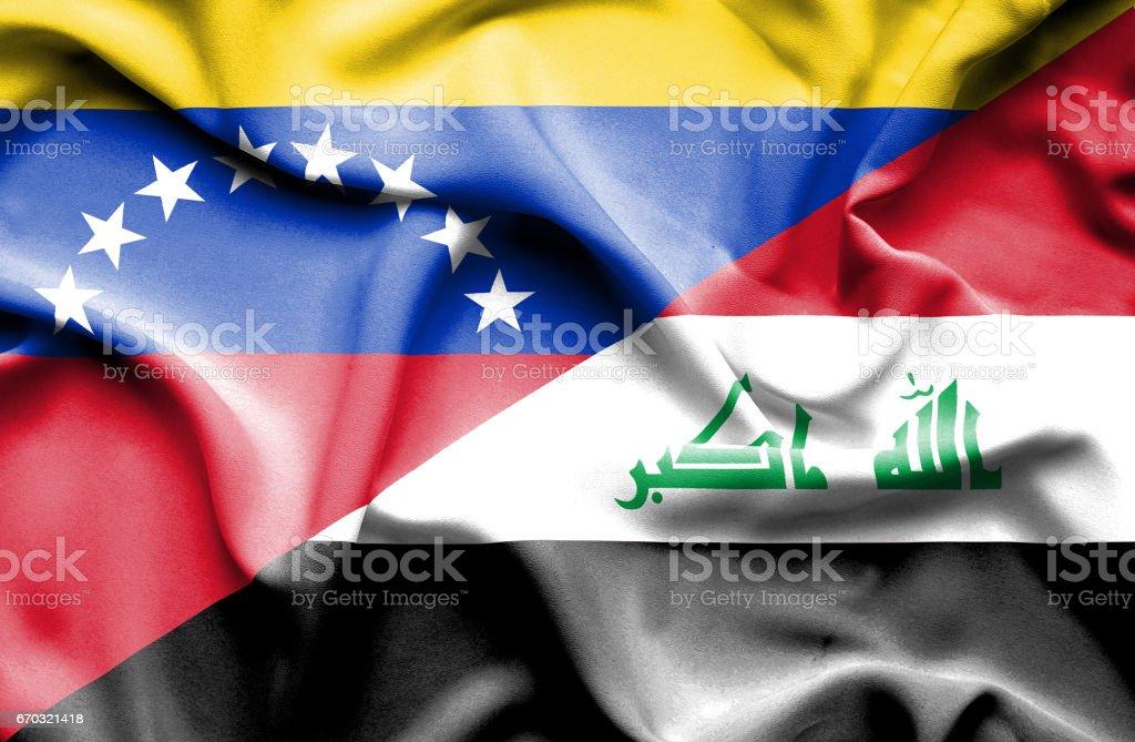 Waving flag of Iraq and Venezuela stock photo