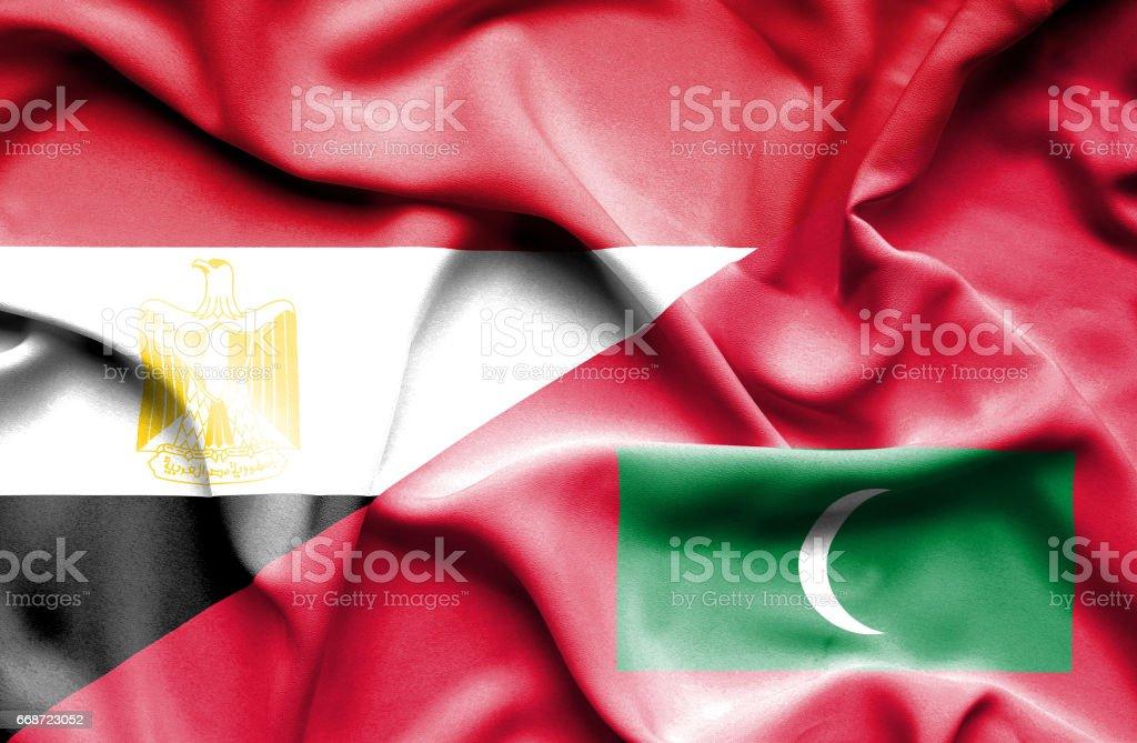 Waving flag of Maldives and Egypt stock photo