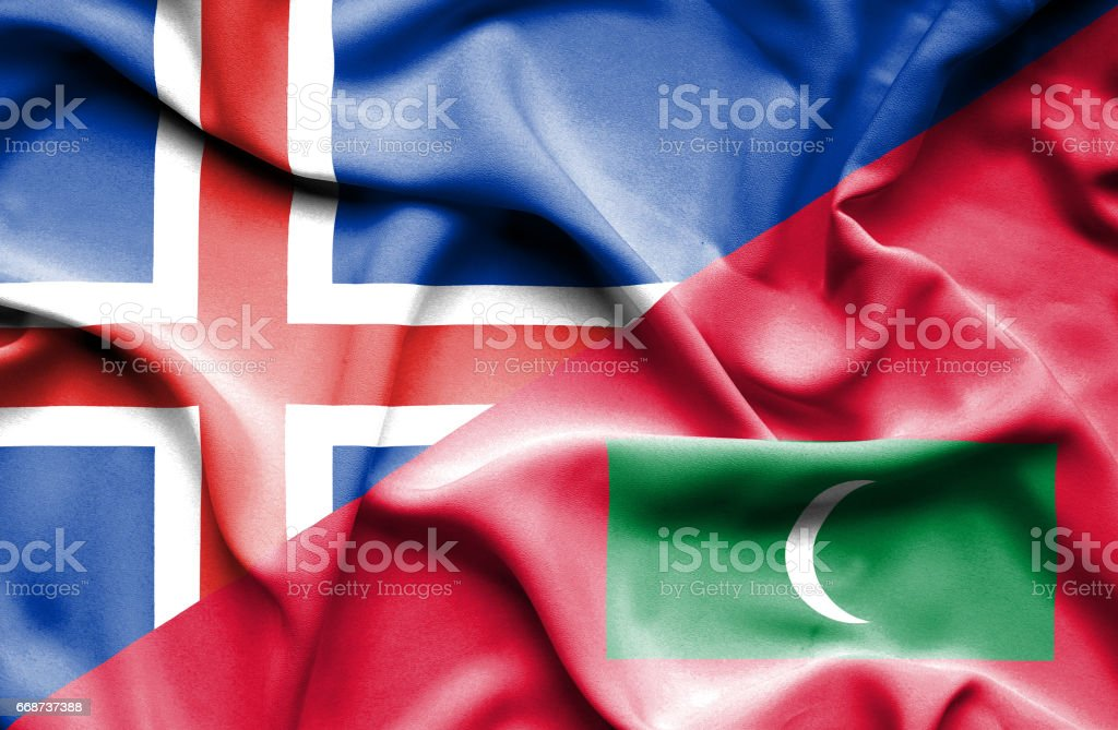 Waving flag of Maldives and Iceland stock photo