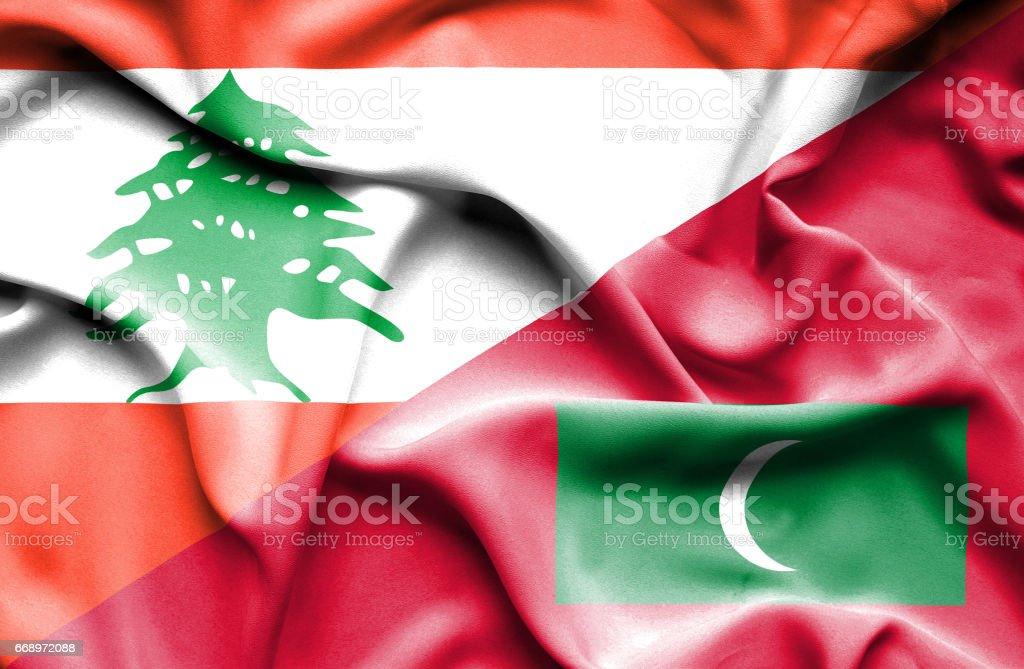 Waving flag of Maldives and  Lebanon stock photo