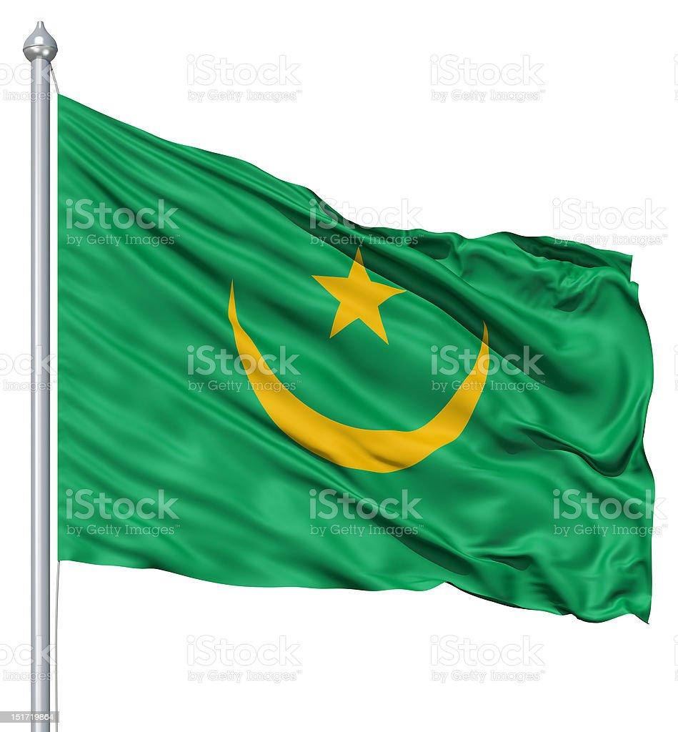 Waving flag of Mauritania royalty-free stock photo