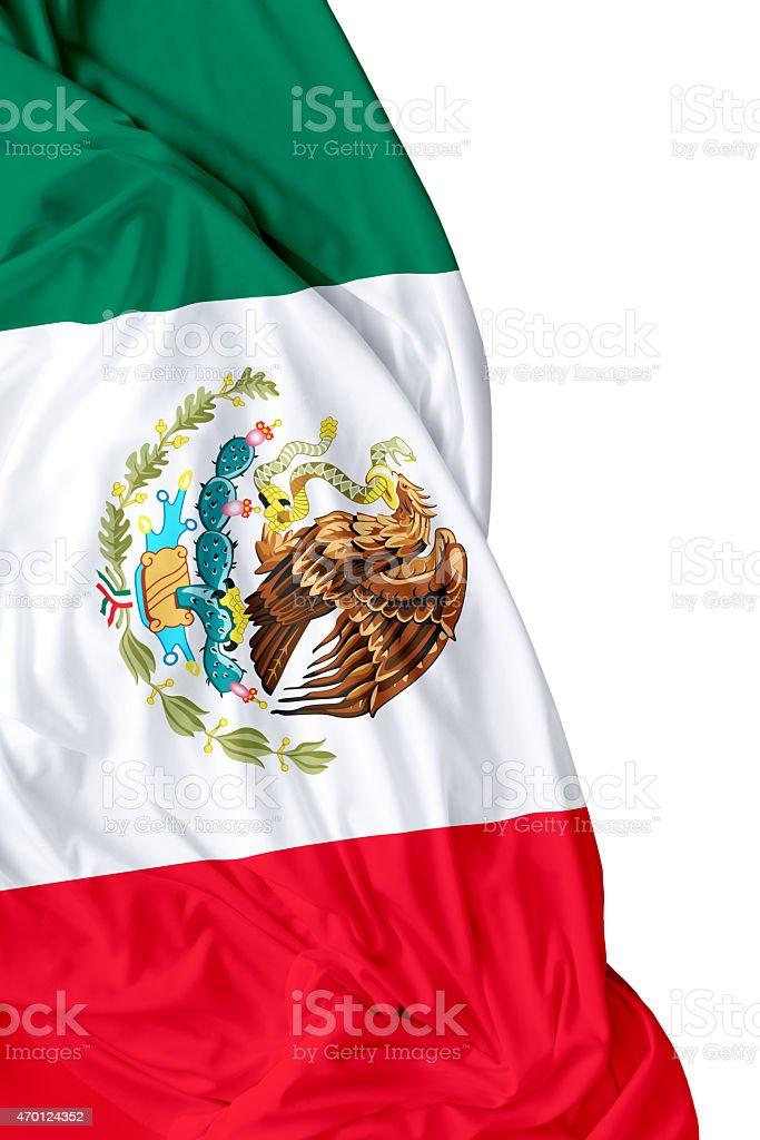 Waving flag of Mexico on white background stock photo