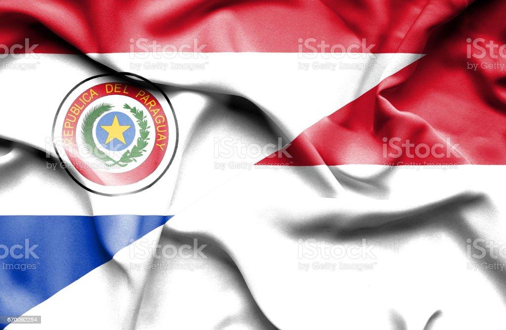Waving flag of Monaco and Paraguay stock photo