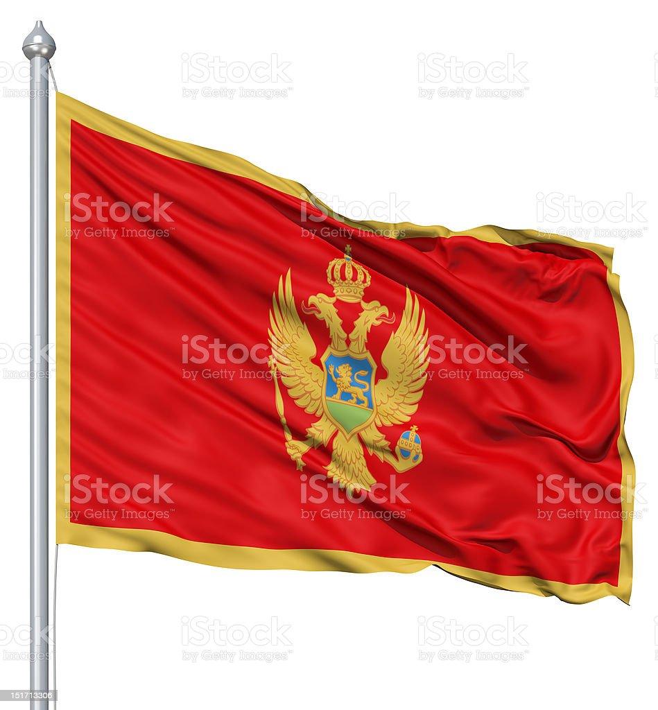 Waving flag of Montenegro royalty-free stock photo