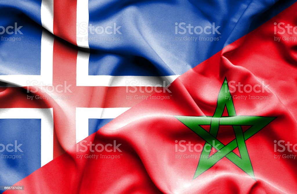 Waving flag of Morocco and Iceland stock photo