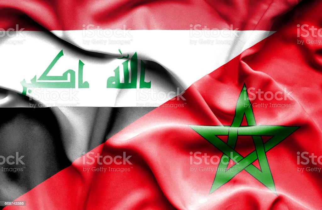 Waving flag of Morocco and Iraq stock photo