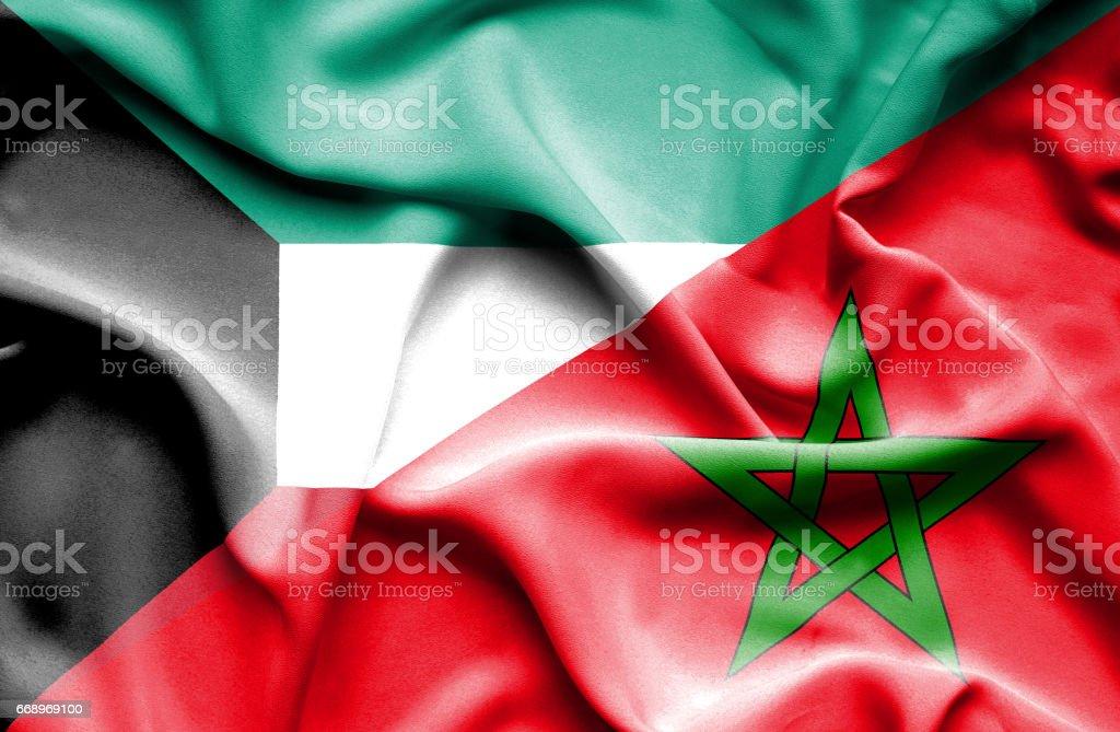 Waving flag of Morocco and Kuwait stock photo