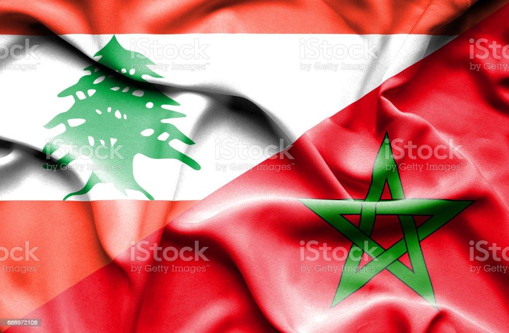 Waving flag of Morocco and  Lebanon stock photo