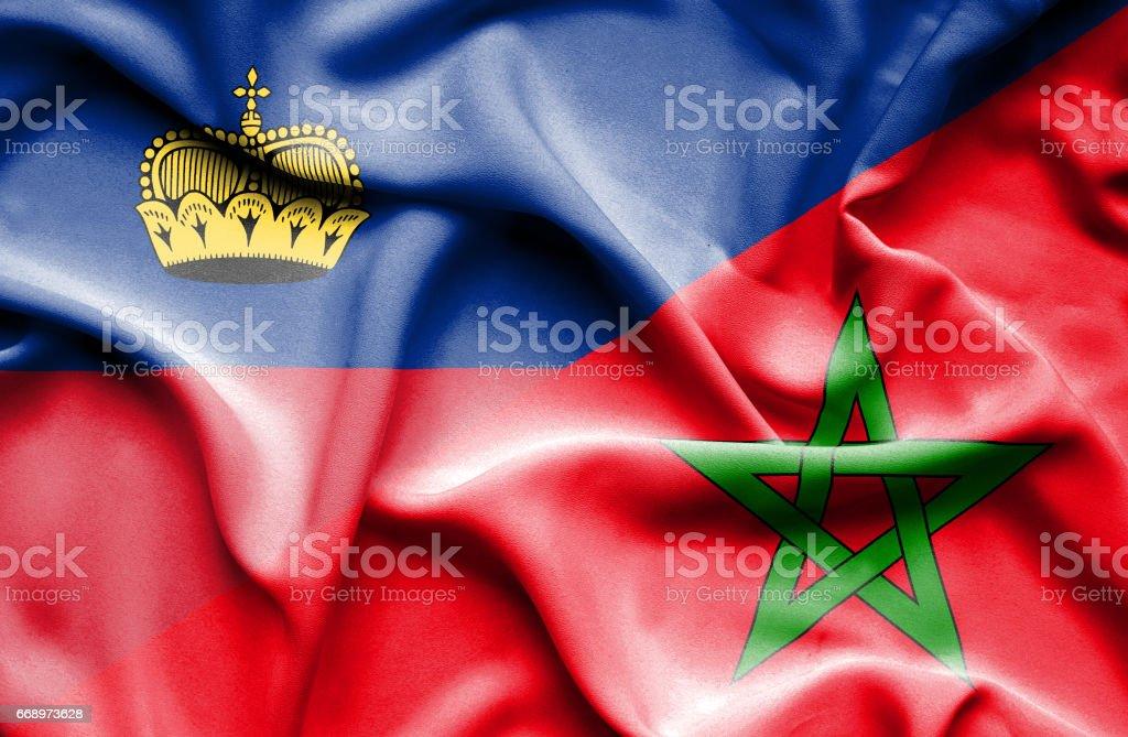 Waving flag of Morocco and Lichtenstein stock photo