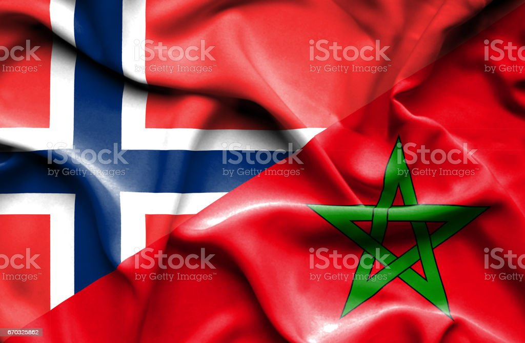 Waving flag of Morocco and Norway stock photo