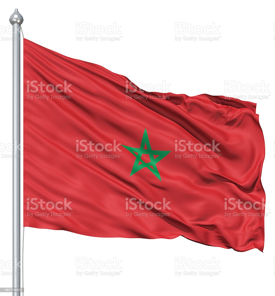 Waving flag of Morocco royalty-free stock photo