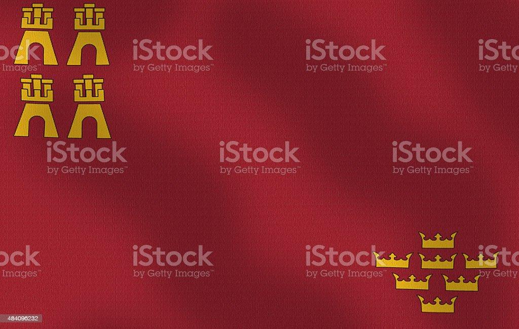 Waving Flag of Murcia Spain Series stock photo