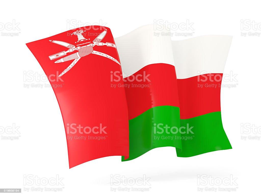 Waving flag of oman. 3D illustration stock photo