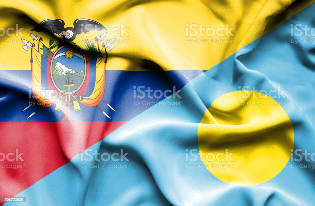 Waving flag of Palau and Ecuador stock photo