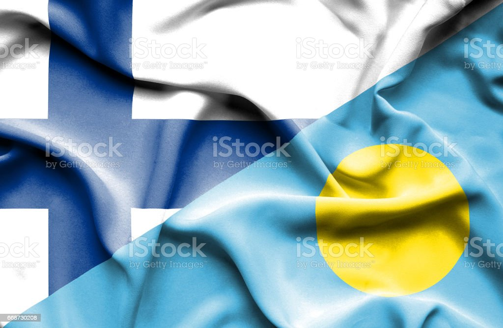Waving flag of Palau and Finland stock photo