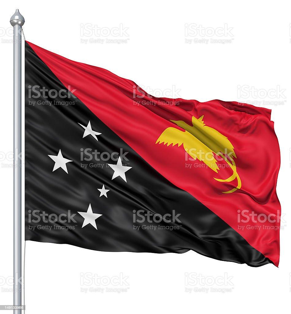 Waving flag of Papua New Guinea royalty-free stock photo