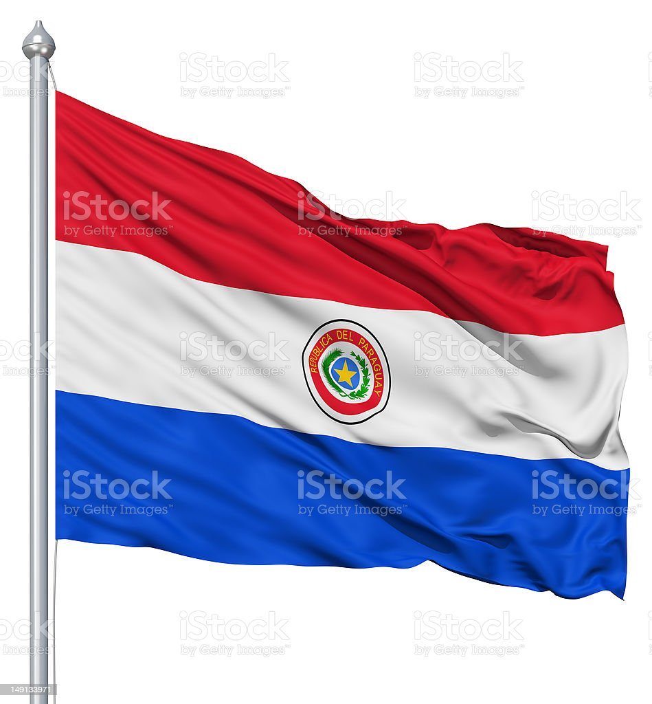 Waving flag of Paraguay royalty-free stock photo