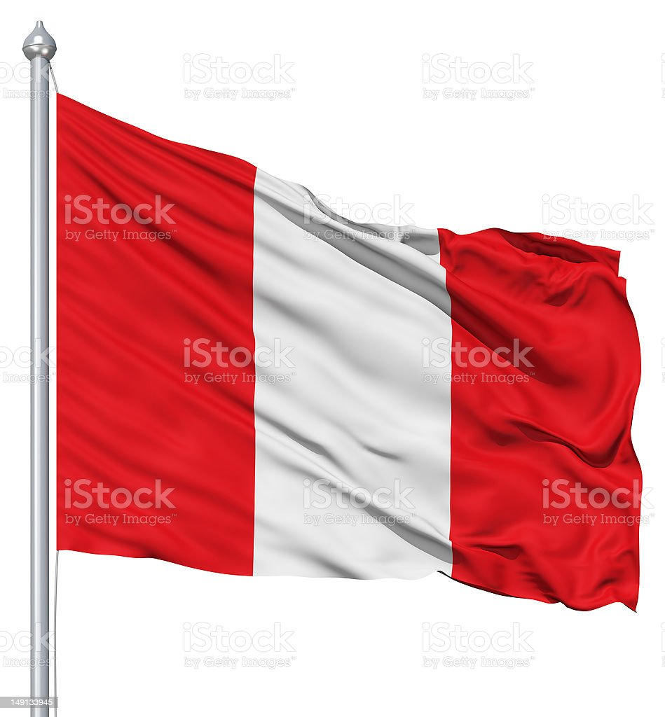 Waving flag of Peru royalty-free stock photo
