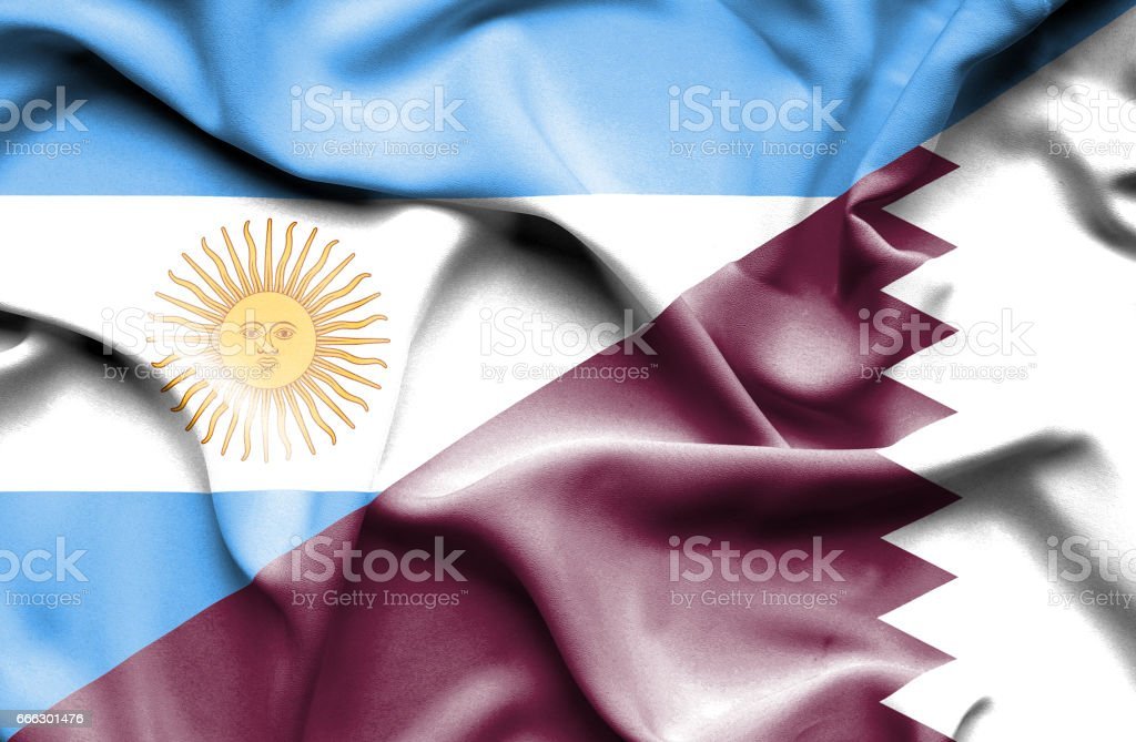 Waving flag of Qatar and Argentina stock photo