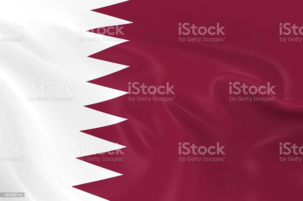 Waving Flag of Qatar stock photo
