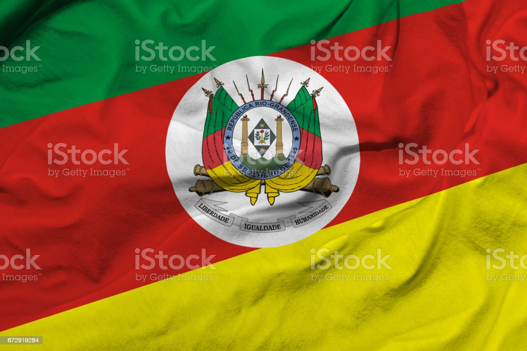Waving Flag of Rio Grande do Sul, Brazil stock photo