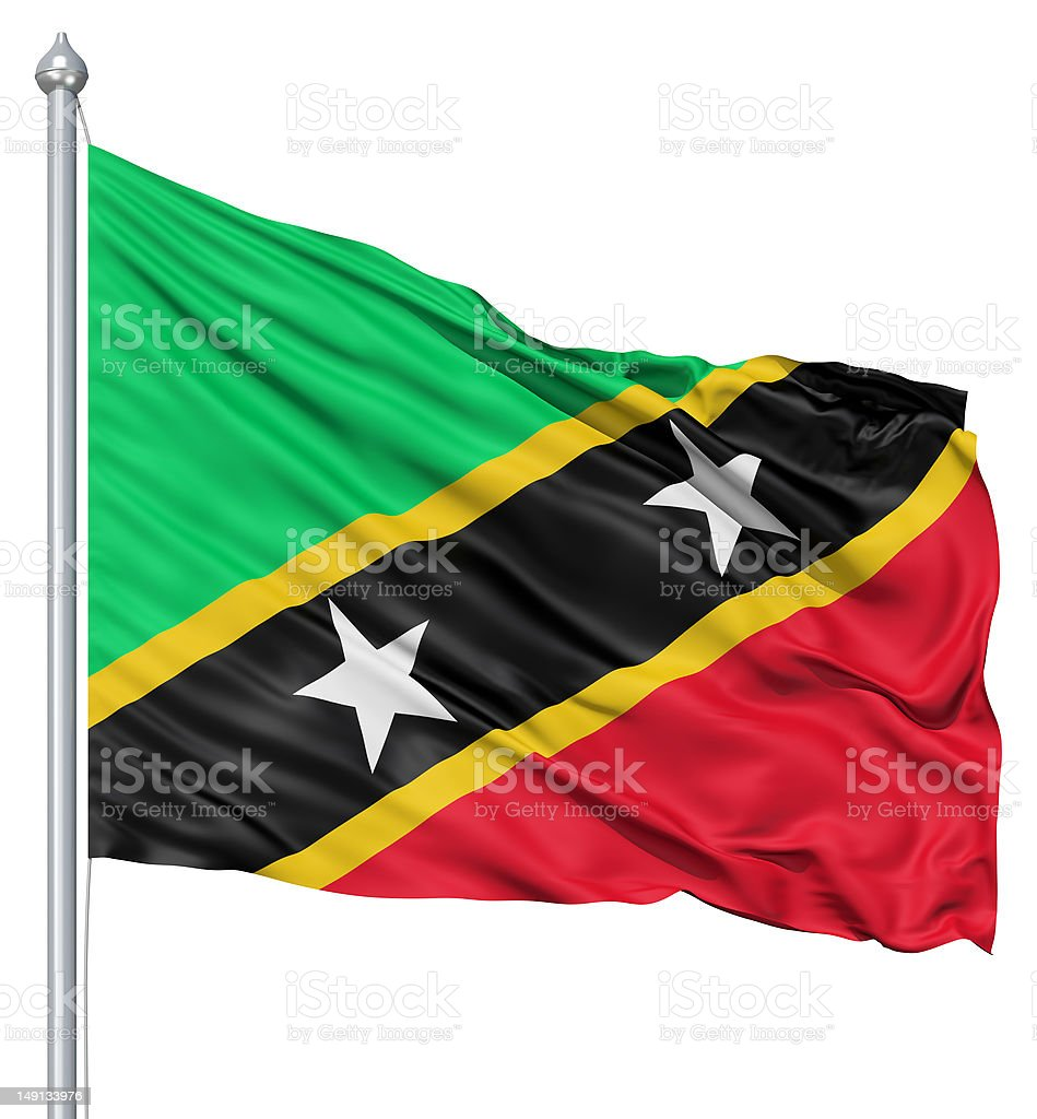 Waving flag of Saint Kitts and Nevis royalty-free stock photo