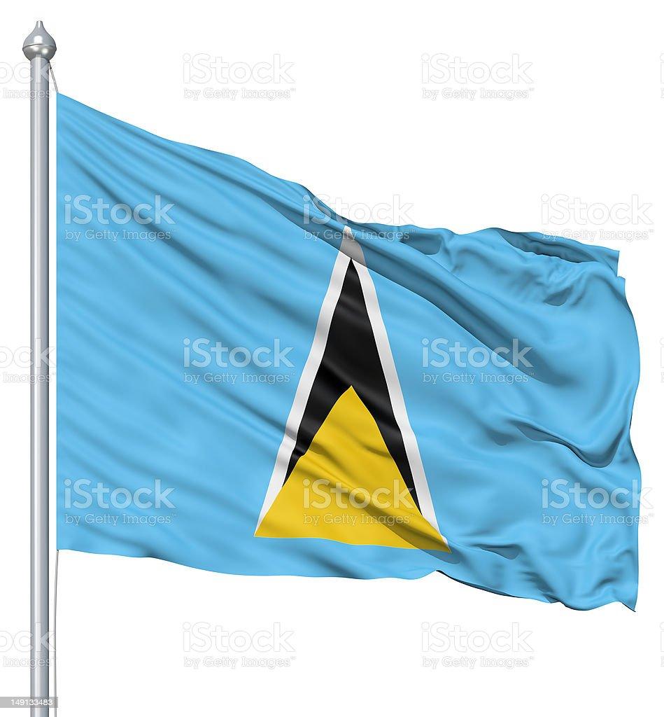 Waving flag of Saint Lucia royalty-free stock photo