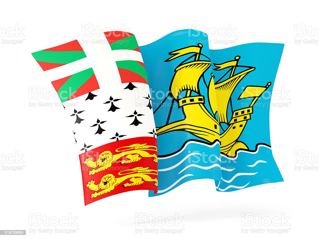 Waving flag of saint pierre and miquelon. 3D illustration stock photo