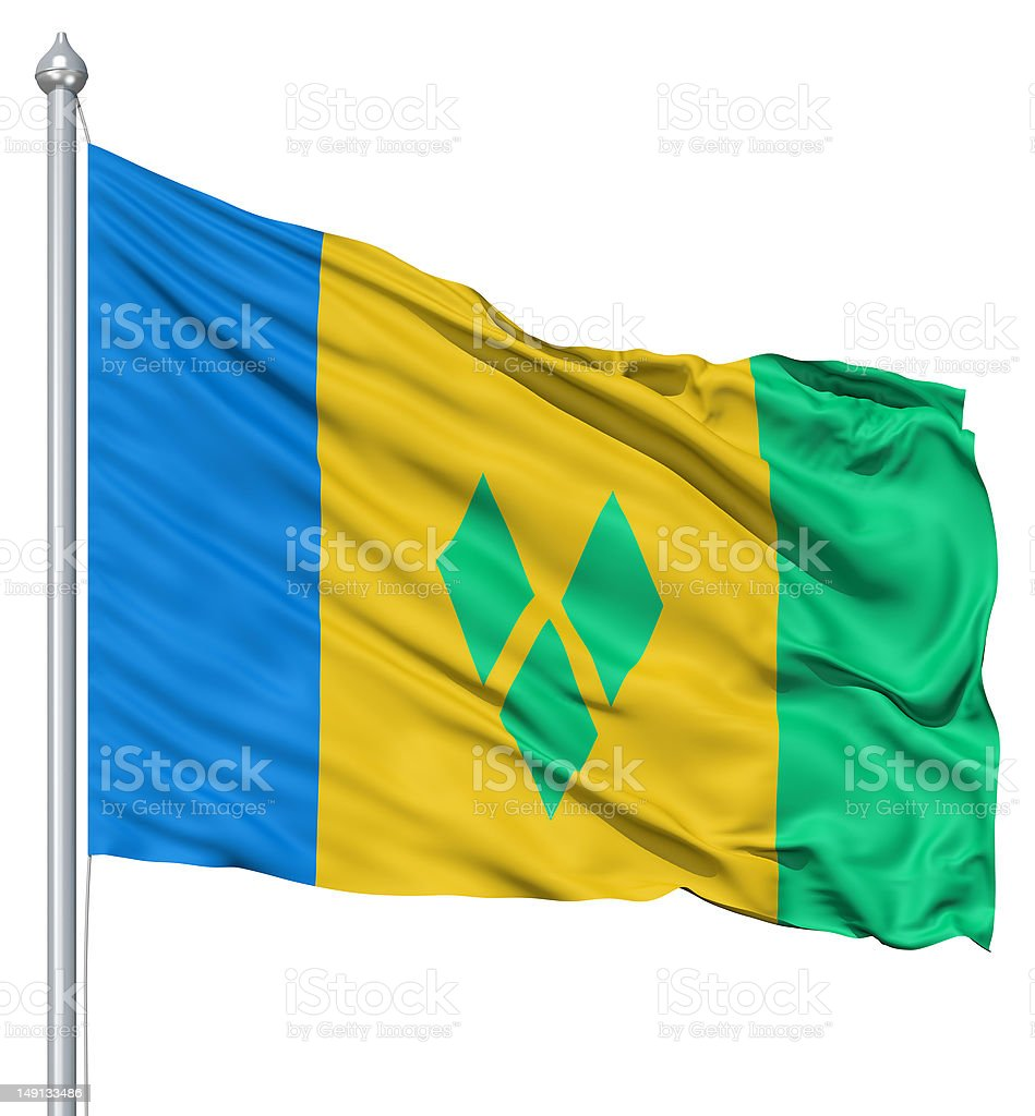 Waving flag of Saint Vincent and the Grenadines royalty-free stock photo