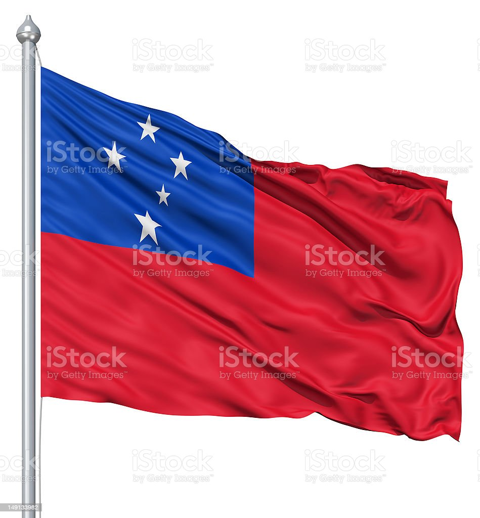 Waving flag of Samoa royalty-free stock photo