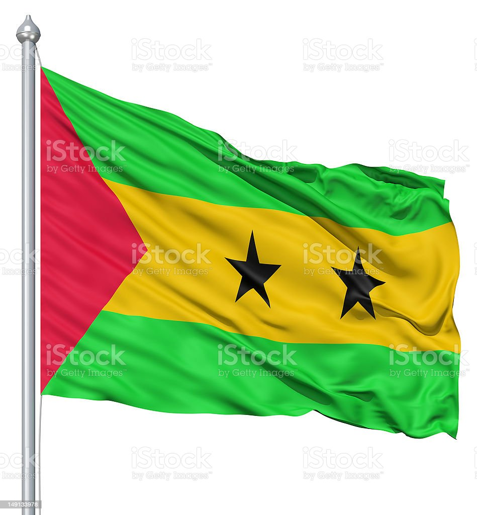 Waving flag of Sao Tome and Principe royalty-free stock photo
