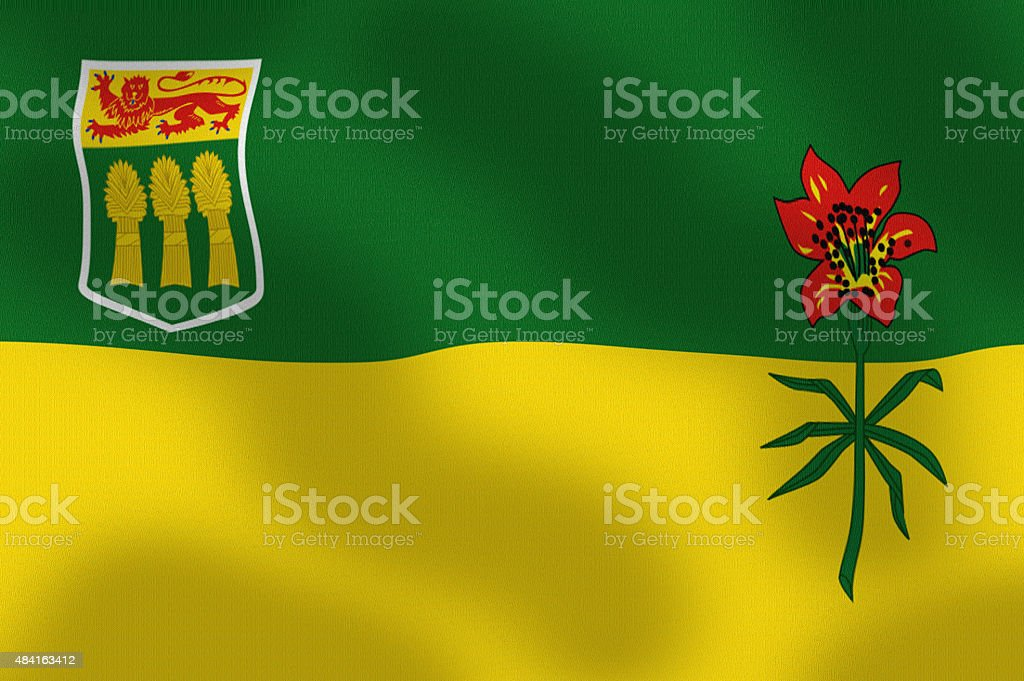 Waving Flag of Saskatchewan Canada Series stock photo