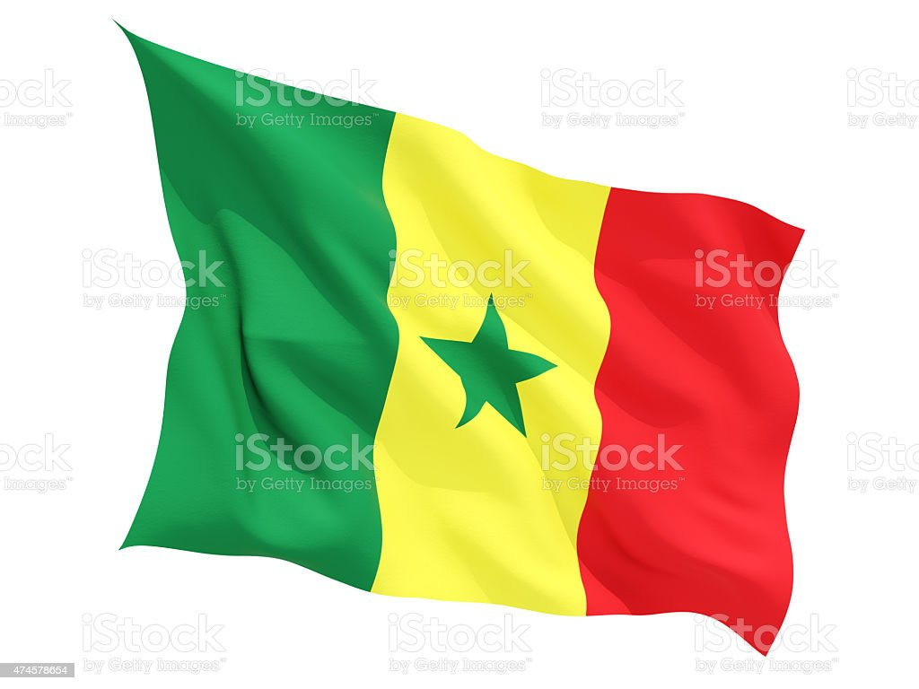 Waving flag of senegal stock photo