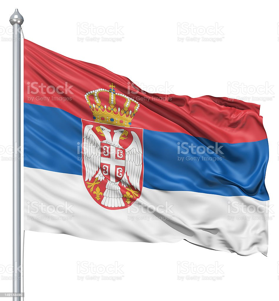 Waving flag of Serbia royalty-free stock photo
